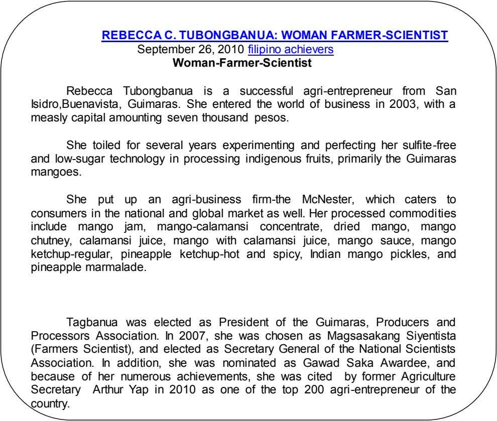 REBECCA C. TUBONGBANUA: WOMAN FARMER-SCIENTIST September 26, 2010 filipino achievers Woman-Farmer-Scientist Rebecca