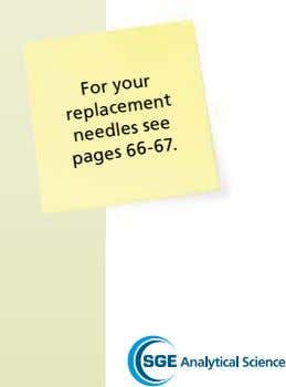 For your replacement needles see pages 66-67.