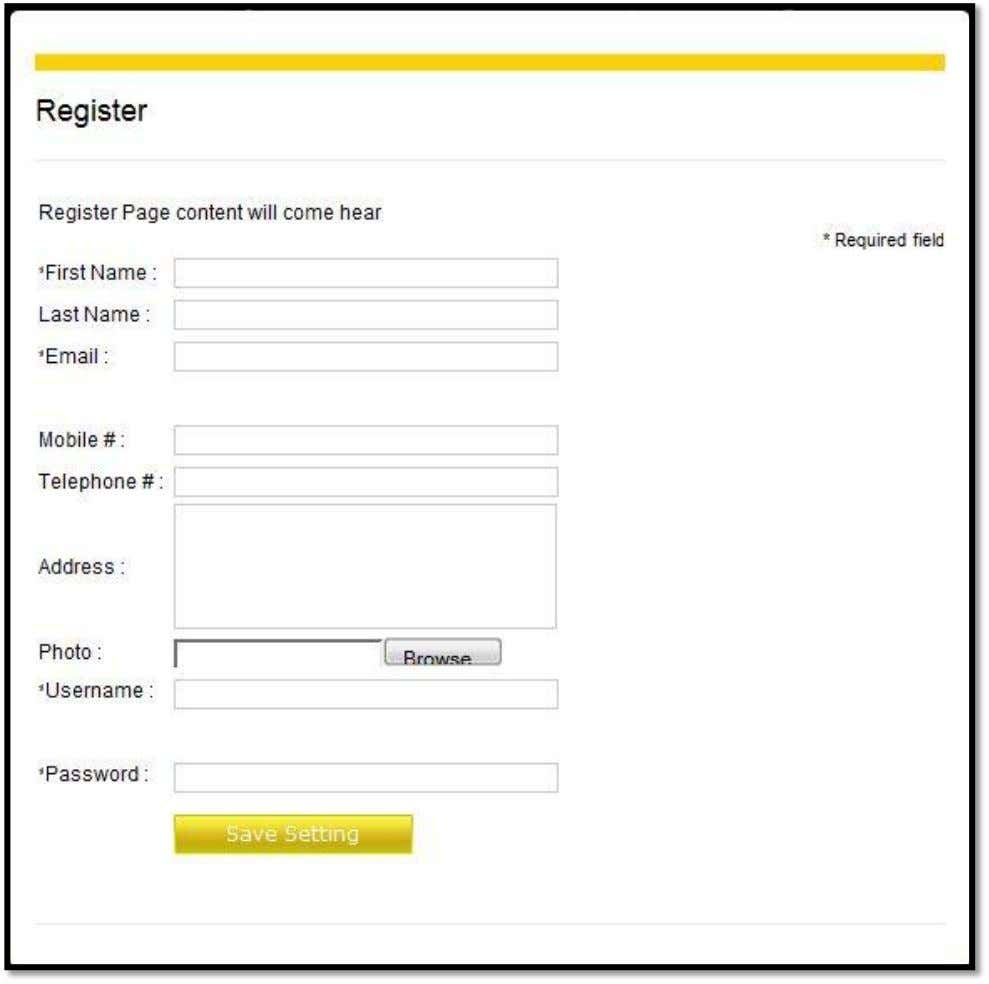Site) User side Registration Page:- Page: 2 System Design Description:- Registration form at user side. 5.3.2