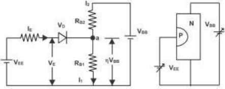 through it, neither in reverse bias nor in forward bias. Equivalent Circuit of a UJT When