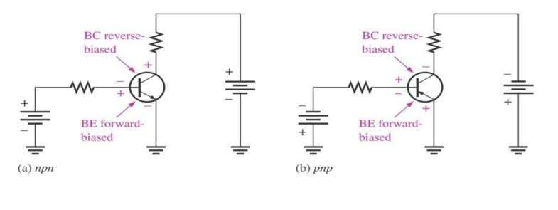 and pnp transistor for active operation as an amplifier.  Transistor is made of 3 separate