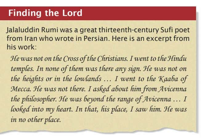 Finding the Lord Jalaluddin Rumi was a great thirteenth-century Sufi poet from Iran who wrote