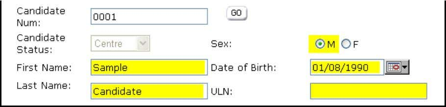 "and gender (M or F). Leave the ""ULN"" field blank. This is not used for PTE"