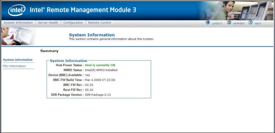 Intel® Remote Management Module 3 User Guide Figure 17: Intel ® RMM3 Home Page The top