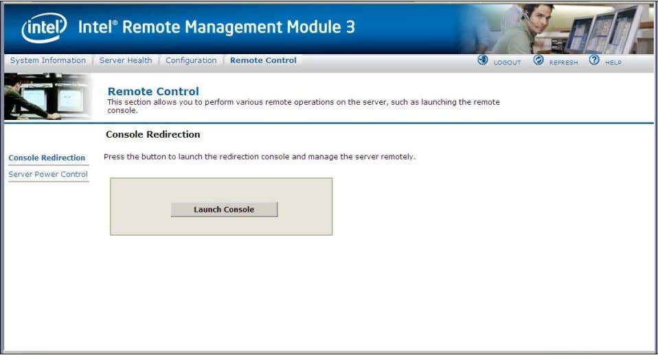 the remote console KVM redirection window from this page. Figure 21: Remote Control Console Redirection window