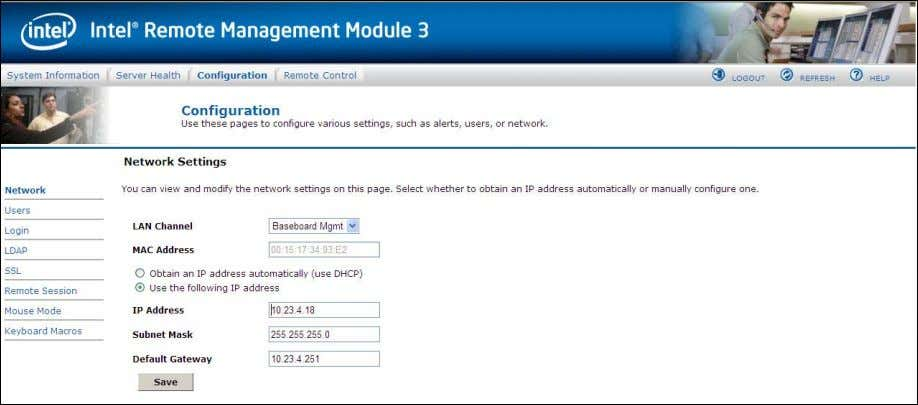 (using DHCP) OR  Manual: Manually configure one. Figure 41. Configuration Network Settings window The