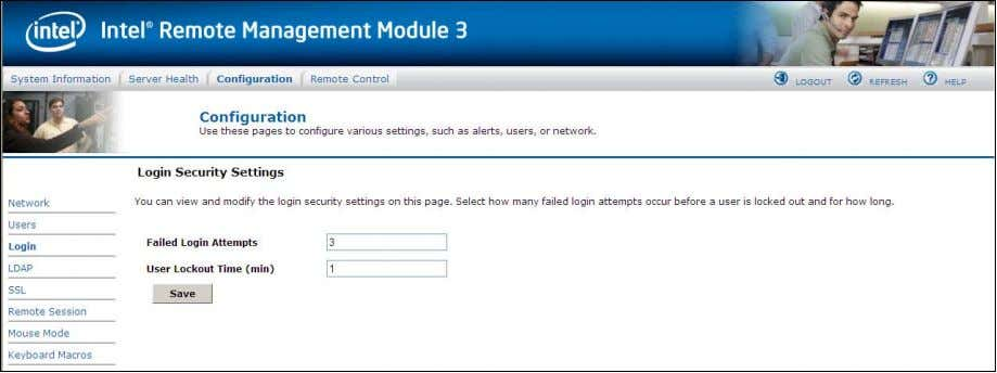 Figure 44: Configuring Login Security Settings window 7.3.4 To turn the feature off, set the