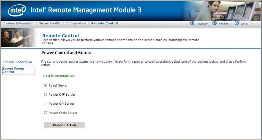 Intel® Remote Management Module 3 User Guide Figure 51. Server Power Control window The following power