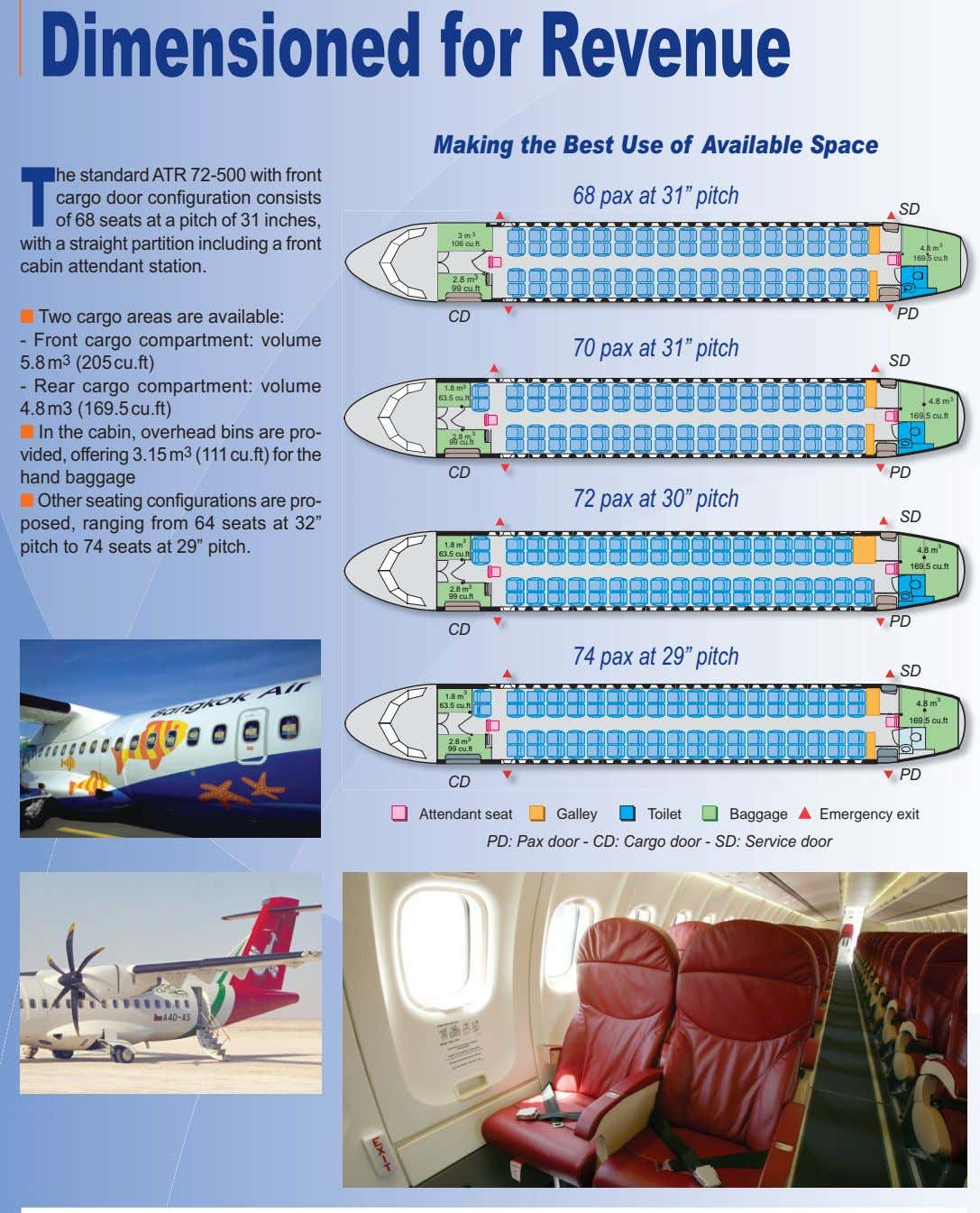 Dimensionedfor Revenue Making the Best Use of Available Space T he standard ATR 72-500 with