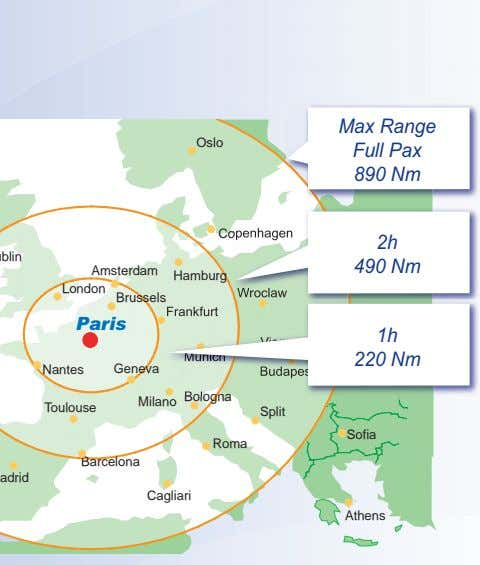 Operational Advantages to Regional Operators Max Range Oslo Full Pax 890 Nm Copenhagen 2h Dublin 490