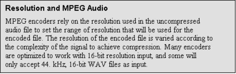 some will only accept 44. kHz, 16-bit WAV files as input. Table 15 shows the file