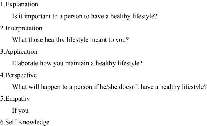 1. Explanation I s it important to a person to have a healthy lifestyle? 2.I nterpretation