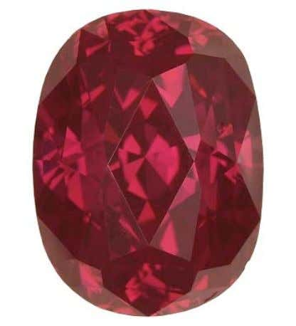 "Figure 1. This 2.14 ct ""Fancy red"" oval-cut diamond was produced through a multi-step treatment"
