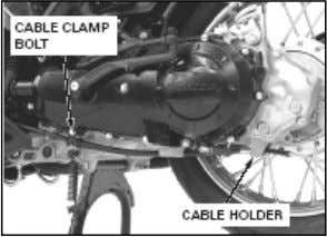 Lepaskan cable clamp bolt (baut klem kabel). dari cable • Lepaskan rear brake cable Holder (pemegang