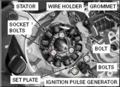 bolts pemasangan, stator dan ignition pulse generator dari stator base • Lepaskan woodruff key (spie). E