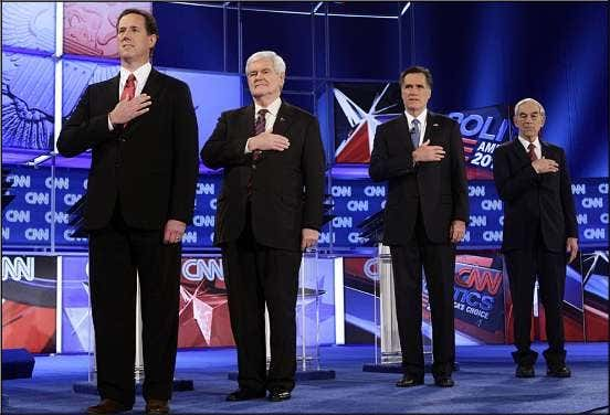 Township police at 825-1254. GOP PRESIDENTIAL CAMPAIGN AP PHOTO From left, Rick Santorum, Newt Gingrich, Mitt