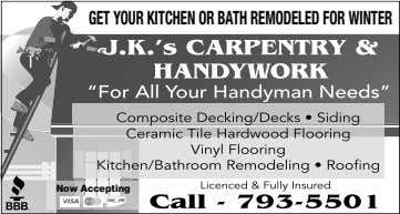 GET YOUR KITCHEN OR BATH REMODELED FOR WINTER Now Accepting