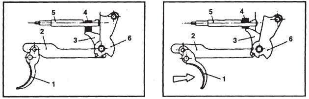 BAR (2), FIRING PIN BLOCK LEVER (3) and FIRING PIN BLOCK (4) 2.By moving the SAFETY