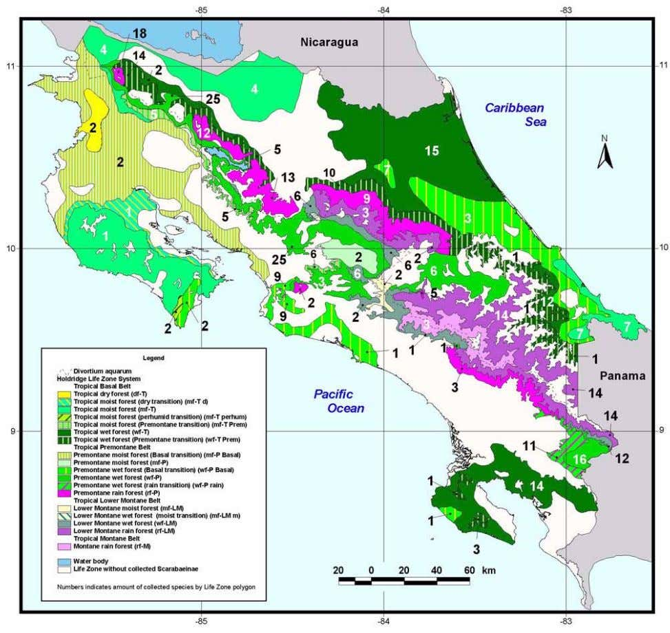 drier areas of the Pacific are the most endemic-poor areas. FIGURE 6. Map showing the total