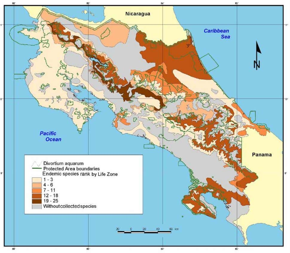 FIGURE 12. Map showing five different rank levels of Scarabaeinae endemism in Costa Rica and