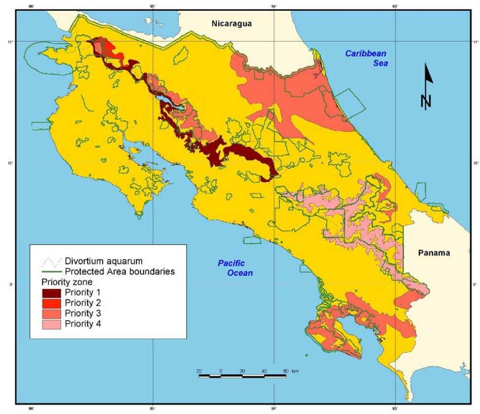FIGURE 13. Map showing conservation priority zones in Costa Rica based on the analysis of