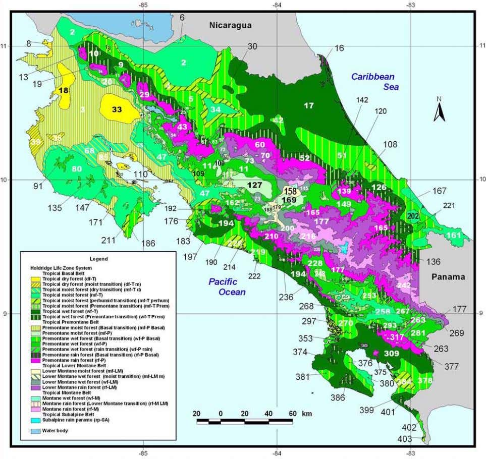 FIGURE 2. Map numbering the Holdridge life zones in Costa Rica. 3.—For each taxon, the