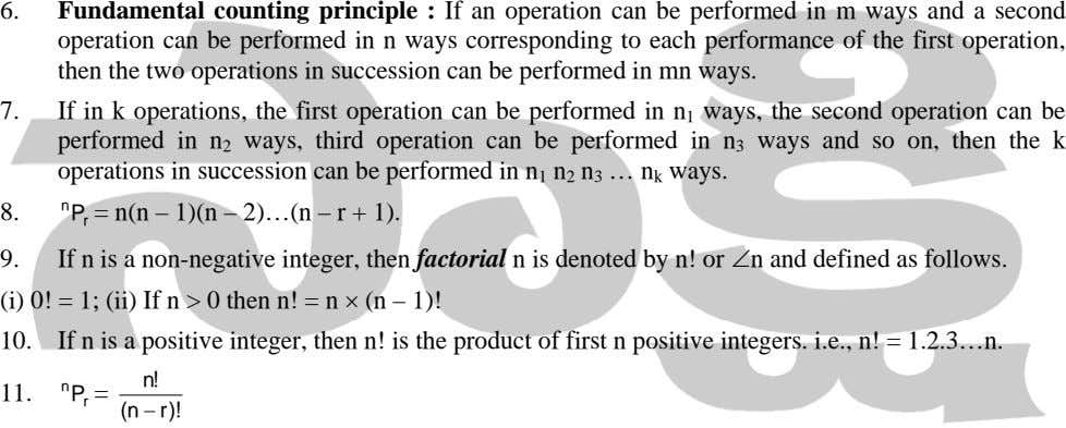 6. Fundamental counting principle : If an operation can be performed in m ways and