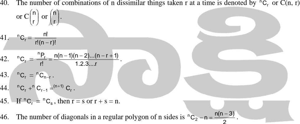 40. The number of combinations of n dissimilar things taken r at a time is