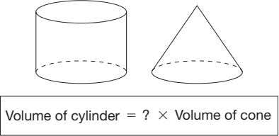 Volume of cylinder � ? � Volume of cone