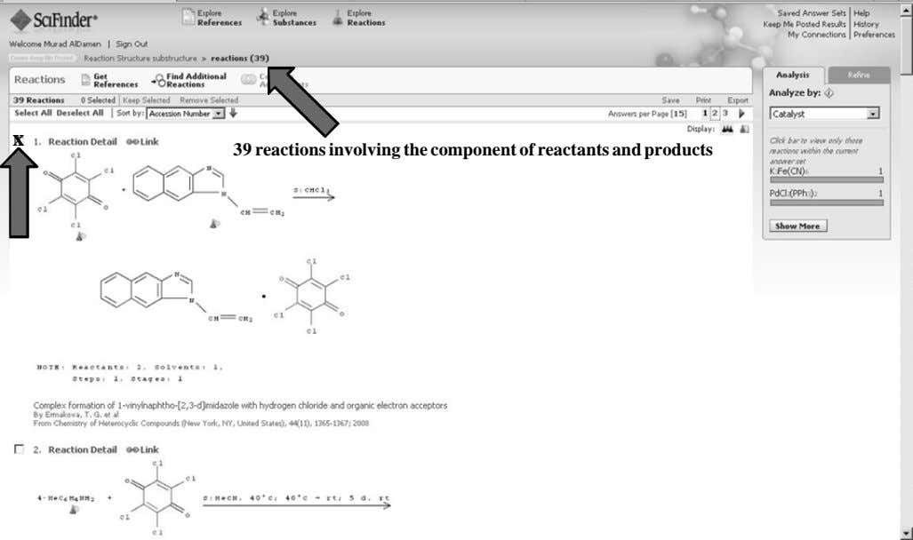 x 39 reactions involving the component of reactants and products