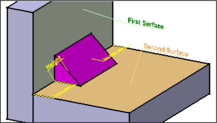 6. Select the green face as the first surface. 7. Select the blue face as