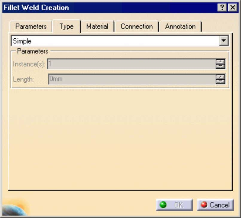 This tab allows you to define if you want to create a simple weld, in
