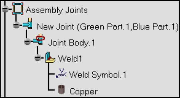 Spec_Product2_New Joint(Spec.1) : includes the geometry used to compute the weld. 2. Expand the Assembly Joints