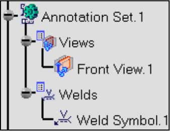 to the weld. 3. Expand the Annotation Set.1 node. The Annotation Set.1 node is organized as