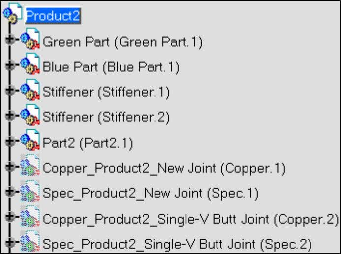Two new parts have been created and are displayed in Hide mode: ● Copper_Product2_Single-V Butt