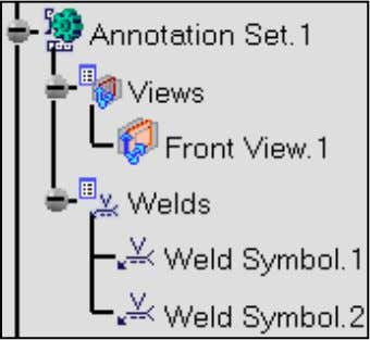 The Annotation Set.1 node now includes a new element: ● Weld Symbol.2 : indicates the