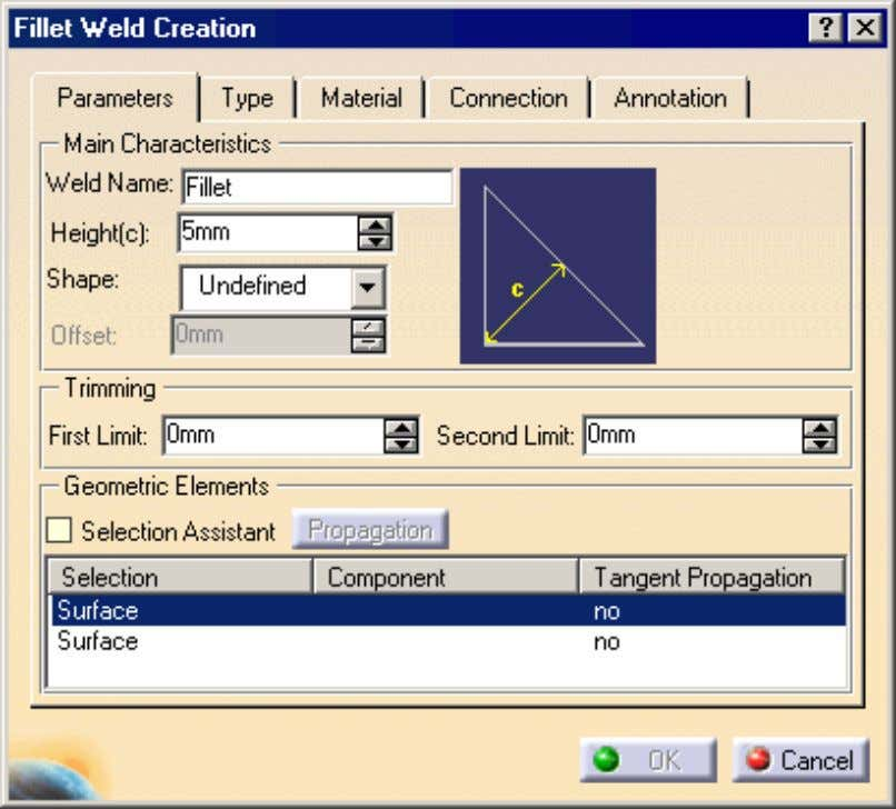 icon: The Fillet Weld Creation dialog box is displayed. 2. Enter a meaningful name in the