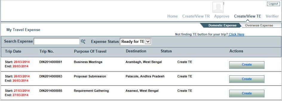 clicks on the Domestic Expense the below screen will appear. Screen Shot 4: Traveler screen for