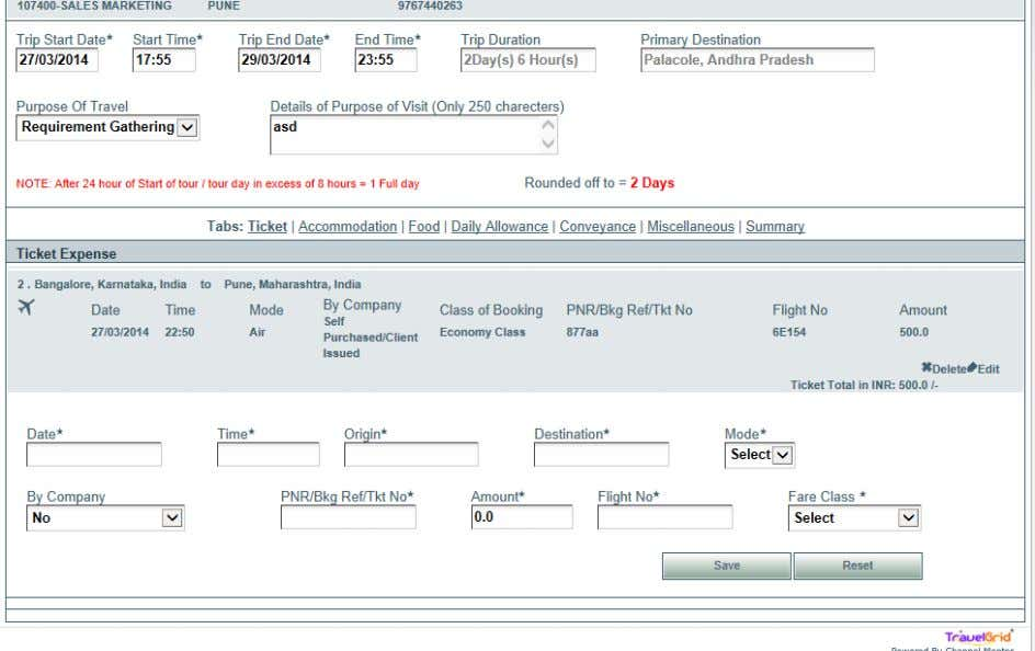 Screen Shot 7: Traveler clicks on Ticket Tab in Expense after filling Trip End Date