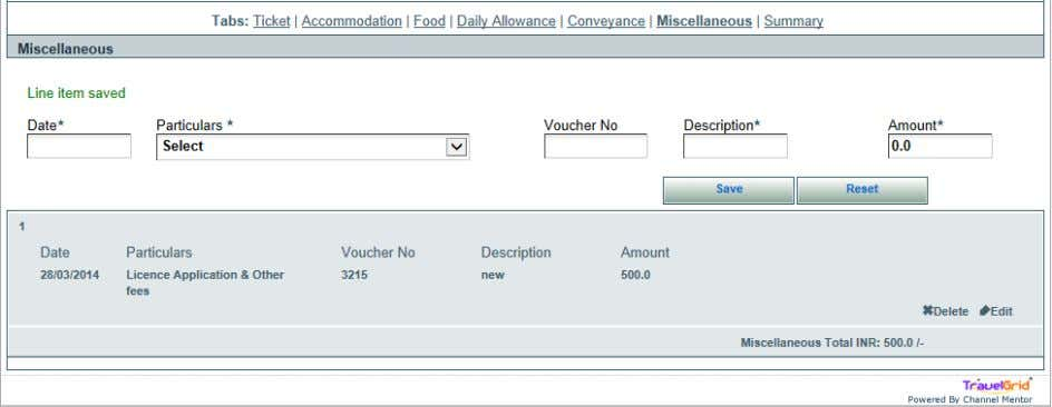 Screen Shot 15: Miscellaneous expense save line item 25) After having claimed all the types