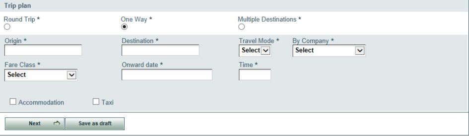 5) Screen Shot 7: Fill the Trip Plan details Once the Next button is clicked