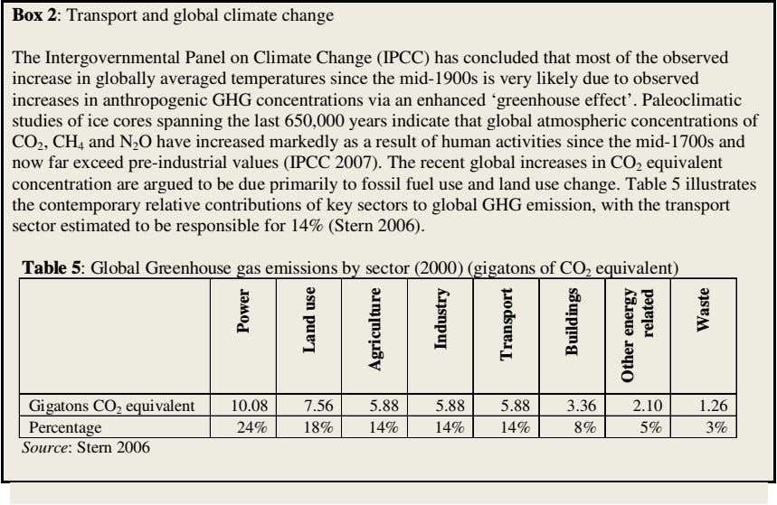 Box 2: Transport and global climate change The Intergovernmental Panel on Climate Change (IPCC) has
