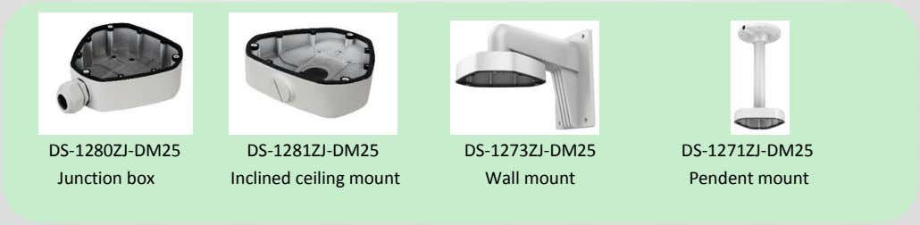 DS-1280ZJ-DM25 DS-1281ZJ-DM25 DS-1273ZJ-DM25 DS-1271ZJ-DM25 Junction box Inclined ceiling mount Wall mount Pendent
