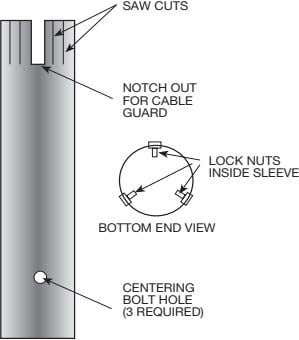 SAW CUTS NOTCH OUT FOR CABLE GUARD LOCK NUTS INSIDE SLEEVE BOTTOM END VIEW CENTERING