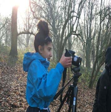 Zahra our cinematographer filming.