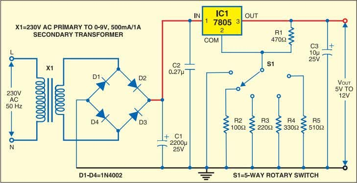 any fixed regulator ad- justable, use the following formula: Fig. 3: Circuit of variable power supply