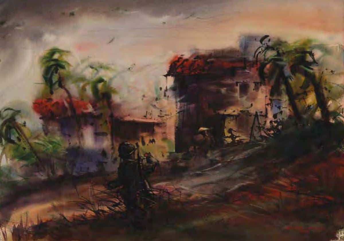 Hot Village by Horatio A. Hawks Vietnam, 1969 Watercolor on paper 96