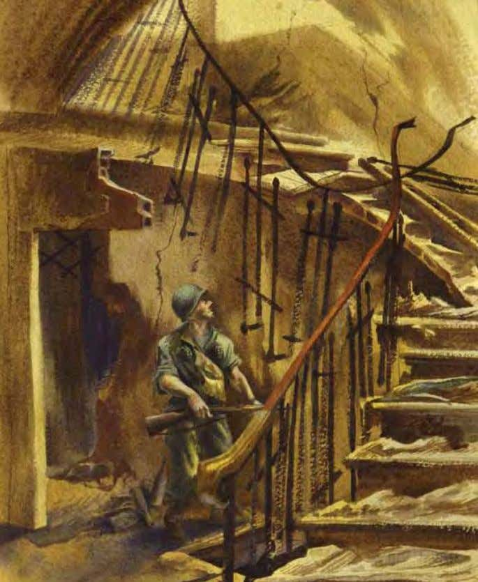 Snipers' Den by Edward reep Vergato, Italy, 1945 Watercolor on paper In THE ArTIST'S oWn