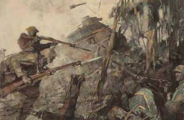 Storming Machine Gun by George Harding October 1918 Charcoal on paper While American infantrymen attack
