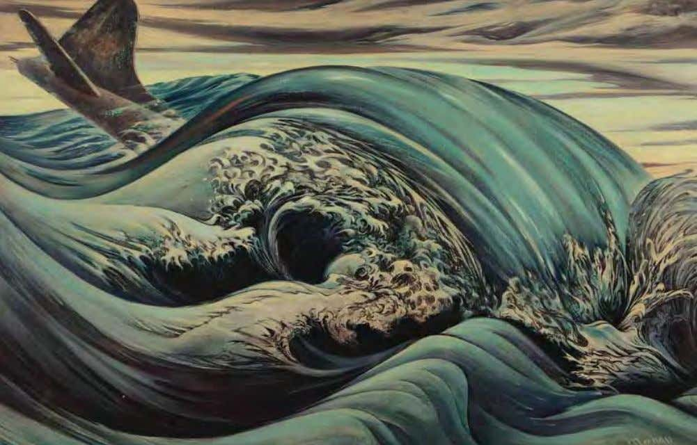 Death by Water by Frank mechau Panama, 1943 Oil on canvas Inspired by Hokusai's woodcut,